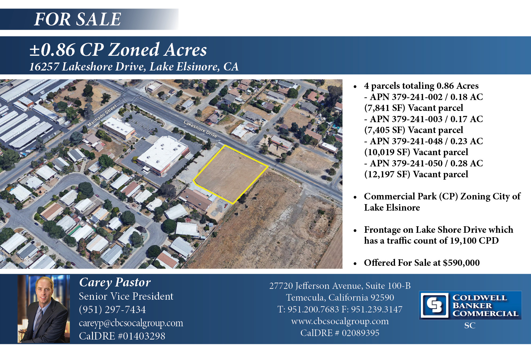 FOR SALE! ±0.86 Acre of CP zoned vacant land in Lake Elsinore