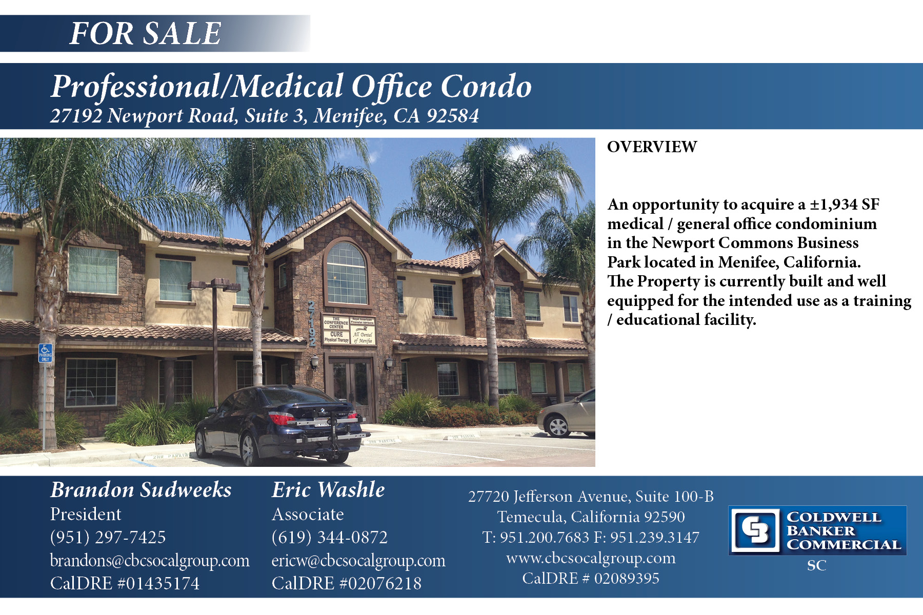 FOR SALE! ±1,934 SF Professional/Medical Office Condo in Menifee