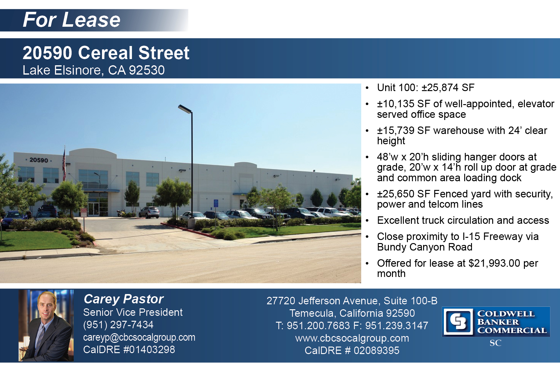 LEASED! ±25,874 SF Industrial Space in Lake Elsinore
